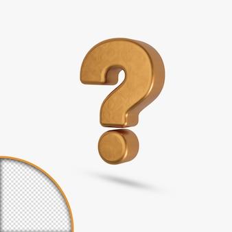 Digit number alphabet golden  metallic glossy letter question mark rendering