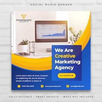 Digital agency marketing square social media post