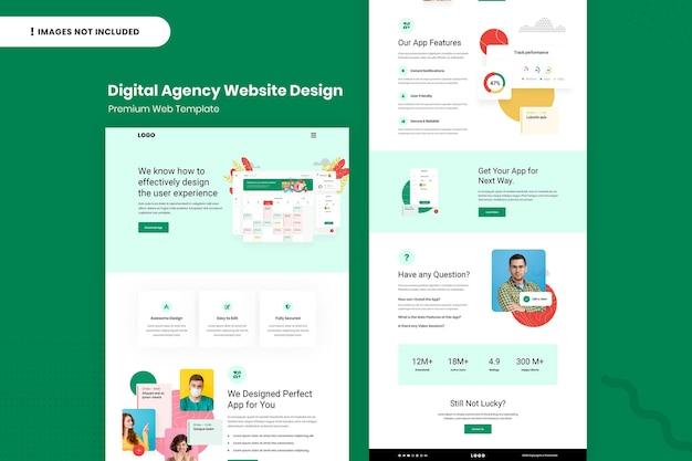 Шаблон дизайна страницы веб-сайта цифрового агентства