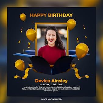 Digital birthday celebration social media post