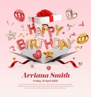 Digital birthday invitations for social media post instagram with photos mockup