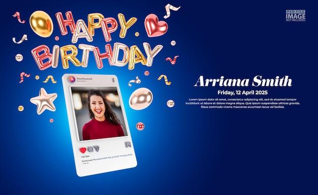 Digital birthday invitations for social media post mockup