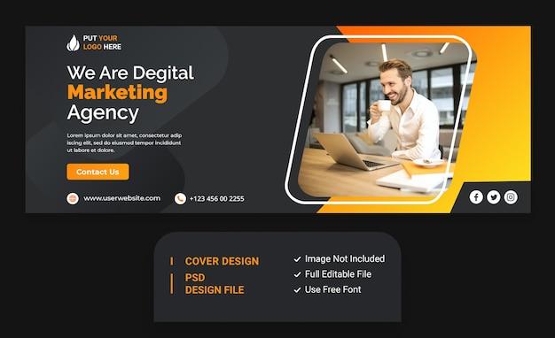 Шаблон обложки для facebook маркетингового продвижения digital business agency