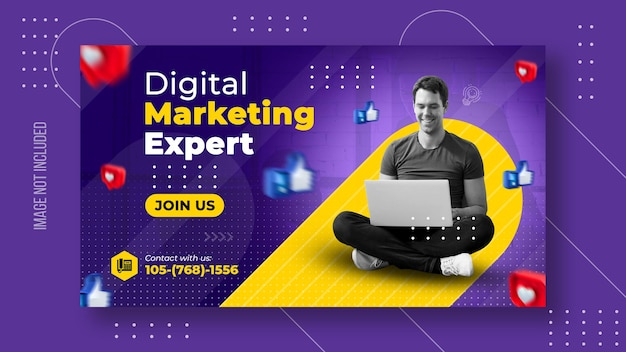 Цифровой бизнес-маркетинг и шаблон веб-баннера