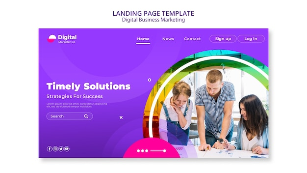 Digital business marketing landing page