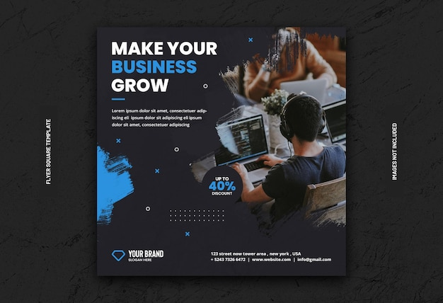 Цифровой бизнес-маркетинг баннер в социальных сетях или квадратный флаер