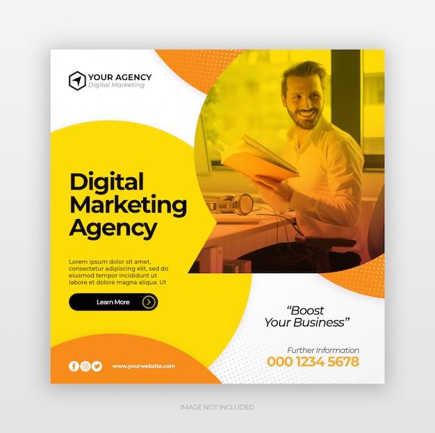 デジタルビジネスマーケティングのソーシャルメディアバナーまたはスクエアチラシ