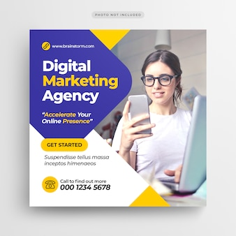 Digital business marketing social media banner or square flyer
