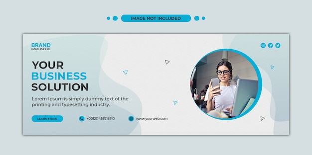 Цифровой бизнес-маркетинг в социальных сетях, обложка временной шкалы facebook и шаблон веб-баннера
