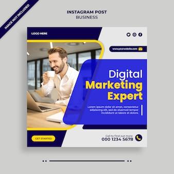 Цифровой бизнес маркетинг социальные медиа, instagram, веб-баннер или квадратный флаер шаблон