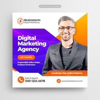 Digital business marketing social media post banner or square flyer
