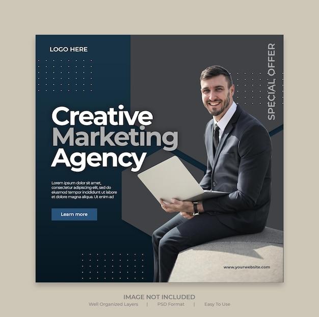 디지털 비즈니스 마케팅 소셜 미디어 게시물 또는 정사각형 웹 배너 템플릿