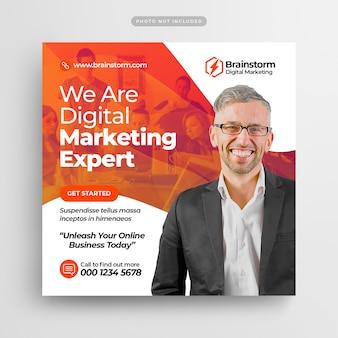 Цифровой бизнес-маркетинг пост в социальных сетях и веб-баннеры