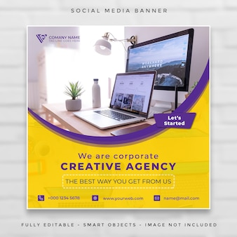 Digital business marketing square banner