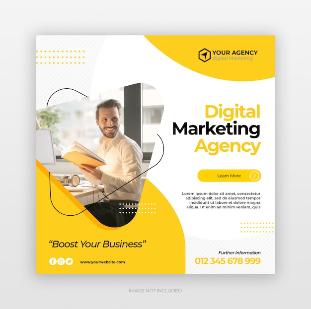 Digital business marketing square flyer