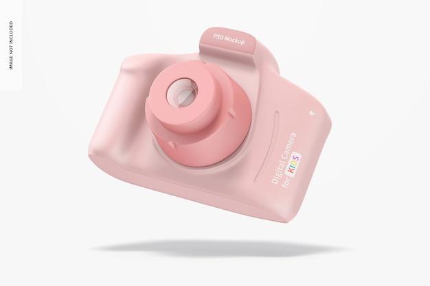 Digital camera for kids mockup, falling