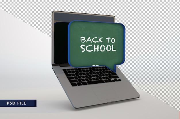 교육 개념을 위한 온라인 디지털 교실 노트북이 있는 3d 현대 칠판