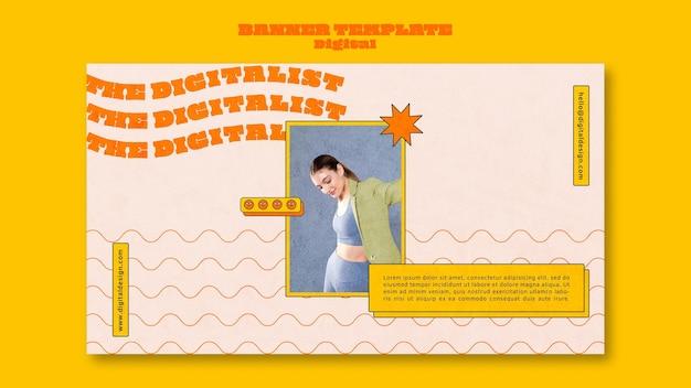 Digital concept horizontal banner template