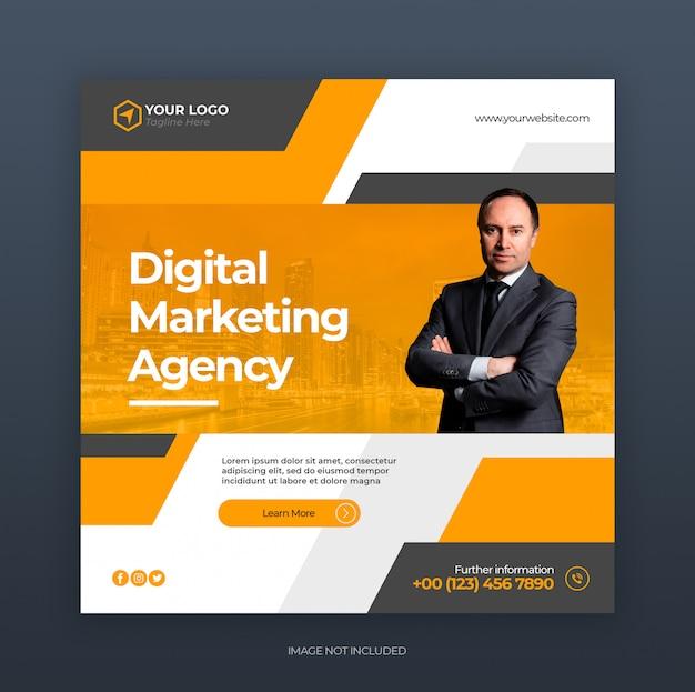 デジタルクリエイティブビジネスマーケティングソーシャルメディアバナーまたはスクエアチラシ