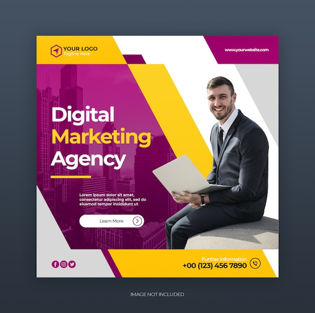 Digital creative business marketing social media banner or square flyer