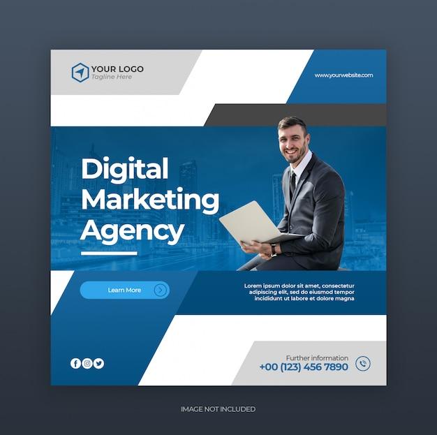 デジタルクリエイティブビジネスマーケティングのソーシャルメディアの投稿または正方形のwebバナー