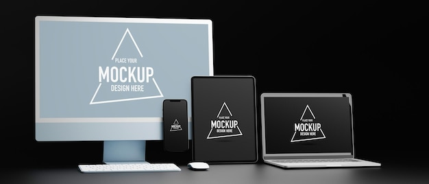 Digital devices with tablet computer and smartphone mockup screen 3d rendering