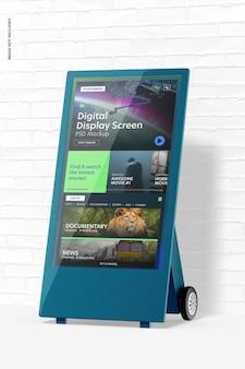 デジタルディスプレイ画面のモックアップ、右側面図