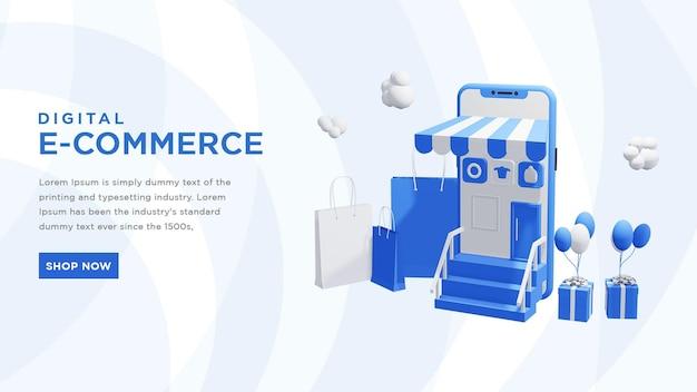 Digital e commerce 3d online shopping illustration premium psd