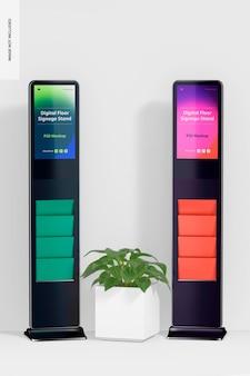 냄비 모형이있는 디지털 바닥 간판 스탠드
