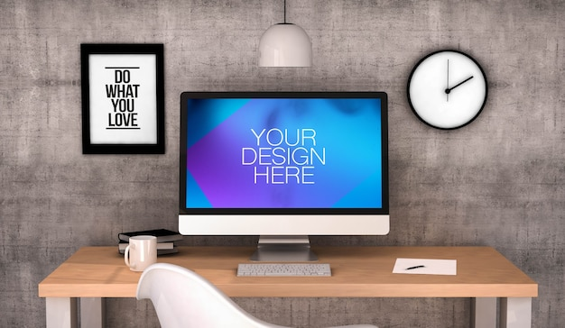 Digital generated workspace desktop with computer mock up