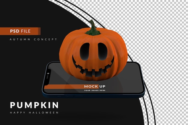Digital halloween display mockup concept with smartphone and scary pumpkin 3d render