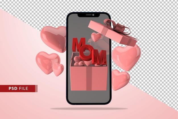 ギフトボックスの赤いハートの3dレンダリングで母の日のデジタル愛の概念