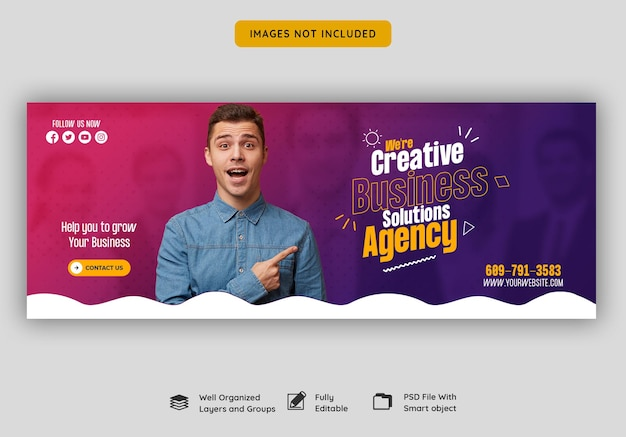 Агентство цифрового маркетинга и корпоративный шаблон обложки facebook