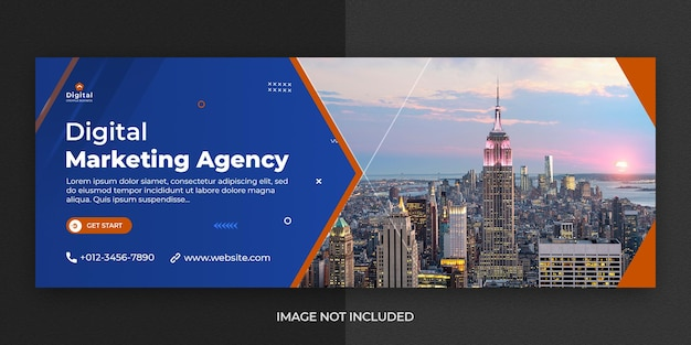 Агентство цифрового маркетинга и элегантный шаблон корпоративного бизнес-баннера