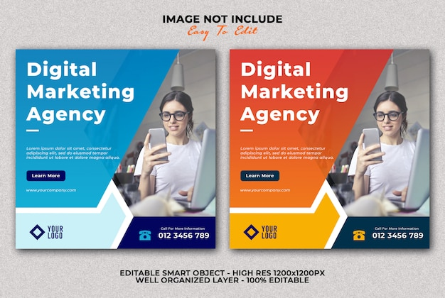 Digital marketing agency banner social media post template