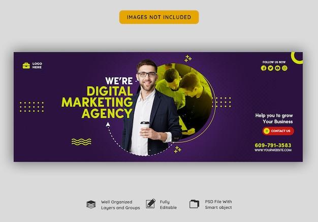 Agenzia di marketing digitale e modello di copertina di facebook aziendale