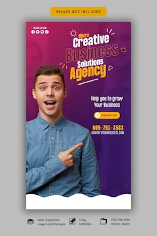 Digital marketing agency and corporate facebook and instagram story template