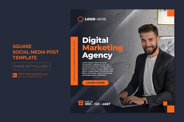 Digital marketing agency and corporate social media post or square web banner template