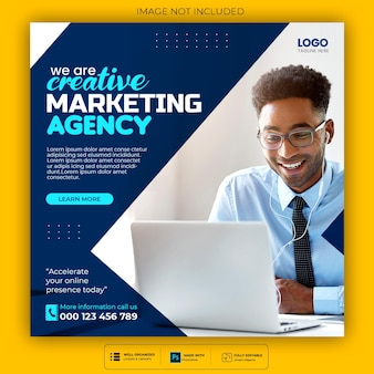Digital marketing agency and corporate social media post template Free Psd