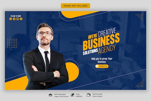 Digital marketing agency and corporate web banner template Free Psd