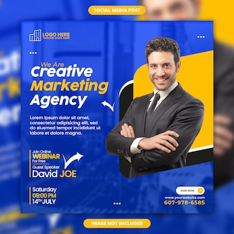 Шаблон поста в instagram или квадратного веб-баннера агентства цифрового маркетинга