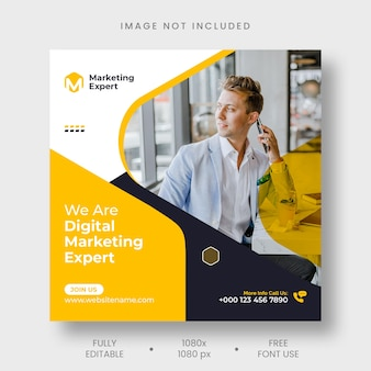 Agenzia di marketing digitale post instagram e modello di banner per social media