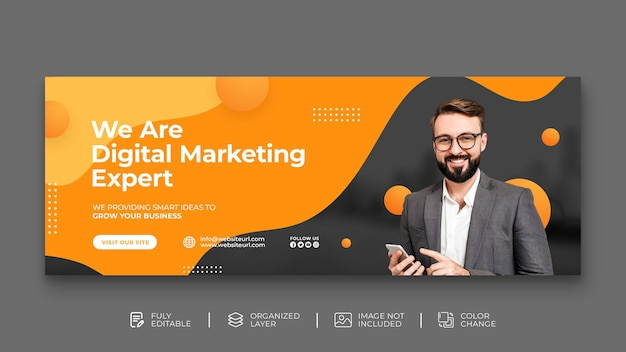 Digital marketing agency live webinar and corporate web banner social media post template free psd