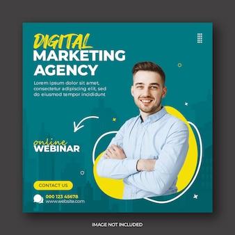 Интернет-семинар агентства цифрового маркетинга и шаблон корпоративного баннера в социальных сетях