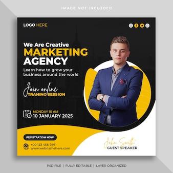 Digital marketing agency online webinar or corporate social media post template