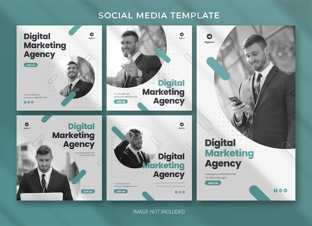 Digital marketing agency social media business pack bundle template premium psd