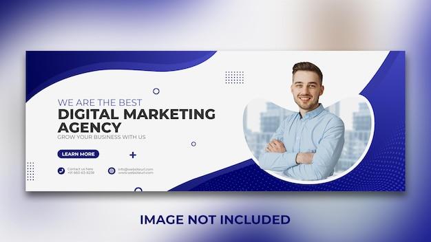 Шаблон оформления обложки facebook агентства цифрового маркетинга в социальных сетях