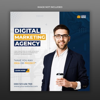 Digital marketing agency social media and instagram post template