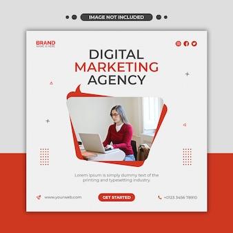 デジタルマーケティングエージェンシーのソーシャルメディア、instagram、webバナー、または正方形のチラシテンプレート