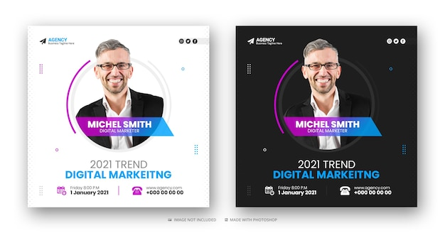 Сообщение агентства цифрового маркетинга в социальных сетях и веб-баннер или шаблон квадратного флаера